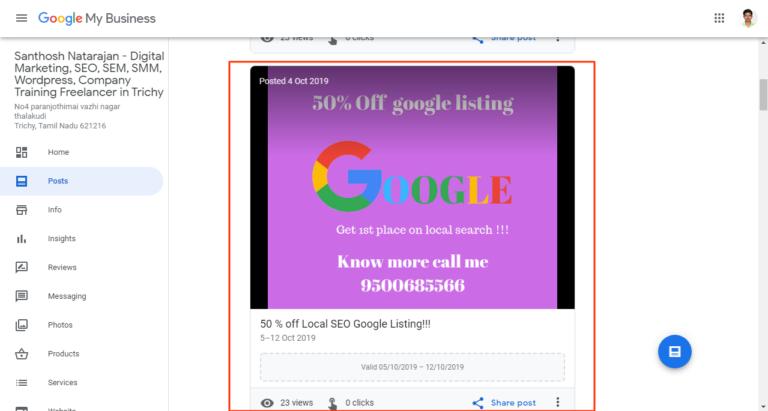 google my business post santhosh natarajan