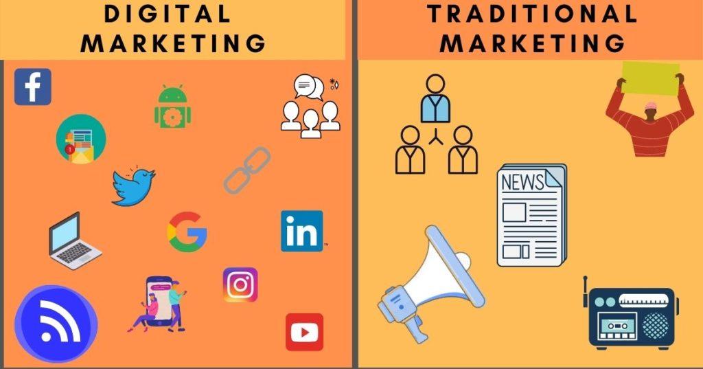 difference between digital marketing vs tradisional marketing course training trichy santhosh natarajan