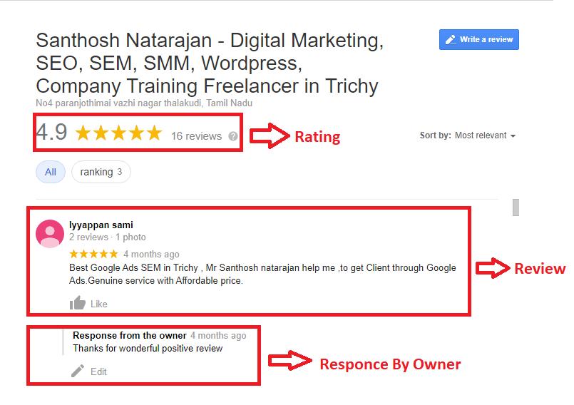 google my business reviews trichy santhosh natarajan