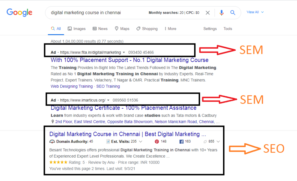 difference between seo & sem